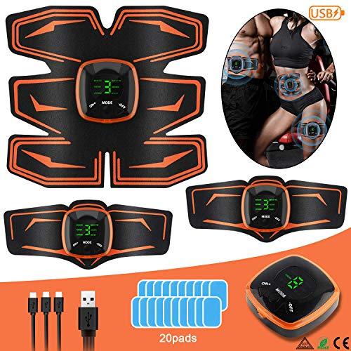 EMS Trainingsgerät Bauchmuskeltrainer USB Wiederaufladbar Elektrostimulatoren für Damen Herren uskelaufbau nd ettverbrennung skelstimulation Elektrostimulation, 6 Simulationsmodi, 9 Intensitäten