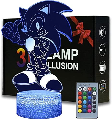 Anime Sonic The Hedgehog Figure 3D Led...