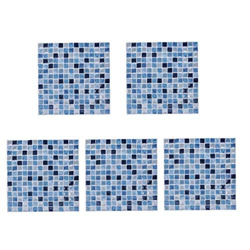 TOPofly Azulejos de Mosaico Pegatinas Pared 3D palillo de Auto Adhesivo Cuadrado de Diseño del Papel Pintado Azul Desmontable para la Cocina 5pcs Backsplash