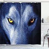 ABAKUHAUS Duschvorhang, Wolf Augen und Fell Natur Tier Nahaufnahme Portrait Wilderniss Blau Grau Weiß als Digital Druck, Wasser und Blickdicht aus Stoff mit 12 Ringen Bakterie Resistent, 175 X 200 cm