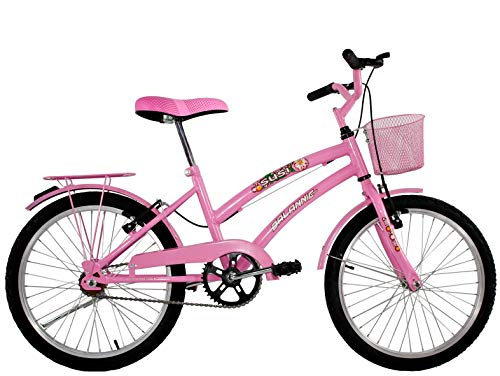 Bicicleta Infantil Aro 20 Feminina Susi Rosa Com Para-lama e Cesta
