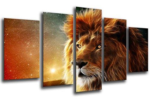 Cuadros Camara, Cuadro Fotográfico Rey Leon, Sabana, Animales, Multicolor, Tamaño total: 165 x 62 cm, XXL