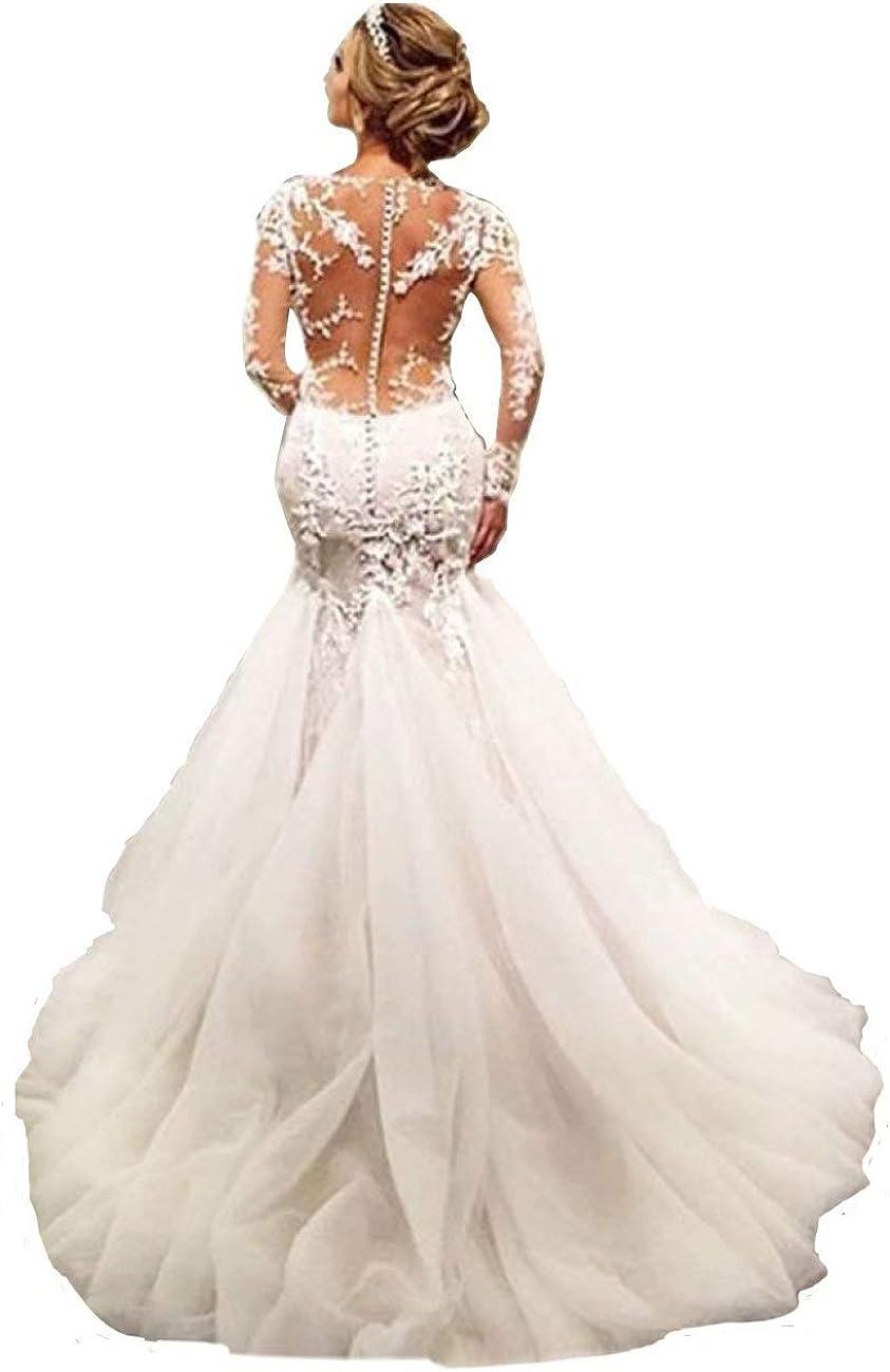 Chady Elegant Lace Mermaid Wedding Dresses for Bride 2021 Long Sleeves Beaded Crew Neck Luxury Wedding Dresses