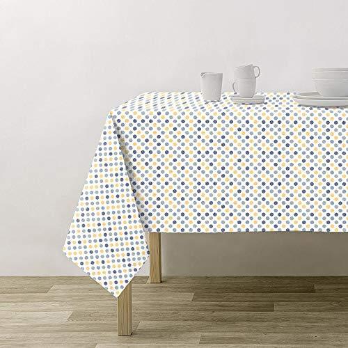 PimpamTex - Mantel Antimanchas Impermeable para Mesa Rectangular de Comedor y Cocina, Original y Elegante, Resiste a Las Manchas y Repele los liquidos (140 x 140 cm, Twister Azul)