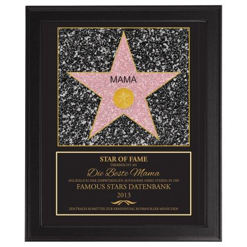 Casa Vivente Star of Fame, Hollywood-Stern, Beste Mama, Kunstdruck Mit dunklem Bilderrahmen, Personalisiert mit Jahreszahl, Muttertagsgeschenk, Geschenkidee für Frauen