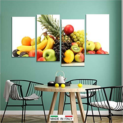 Quadri L&C ITALIA Quadri Cucina Moderni - Frutta 5 - Stampa su Tela Canvas da Parete 152 x 78 Arredamento Ristorante Bar 4 Pezzi Grandi Componibili Multipannello