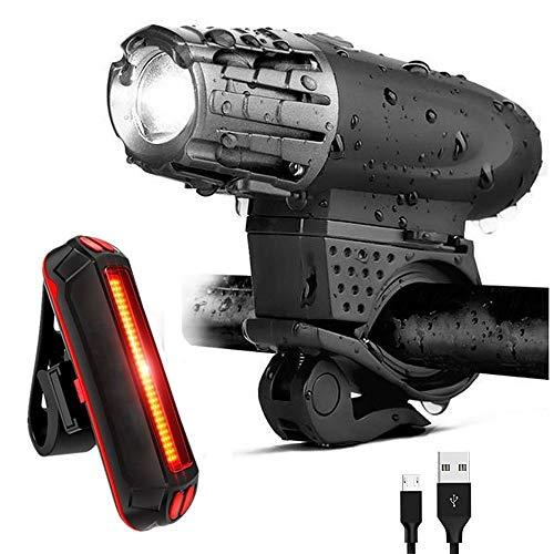 USB Wiederaufladbare LED Fahrradlichter Set Wasserdicht Fahrradbeleuchtung 300 Lumen Fahrradscheinwerfer und Sicheres Rücklicht, 4 Lichtmodi passend für alle Fahrräder, Berg, Straße (+ 602 Rücklicht)