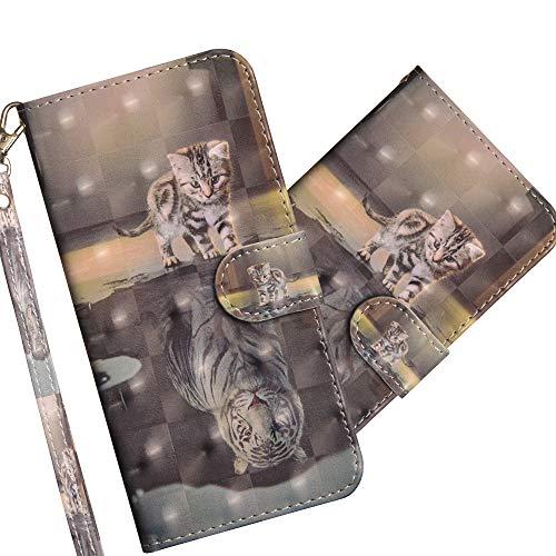 COTDINFOR LG V50 ThinQ Hülle 3D-Effekt Painted cool Schutzhülle Flip Bookcase Handy Tasche Schale mit Magnet Standfunktion Etui für LG V50 ThinQ Cat Tiger YX.