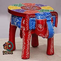 JH Gallery Handcrafted and Emboss Painted Colorful Wooden Elephant Shape Stool (8 Inches Height, Red)