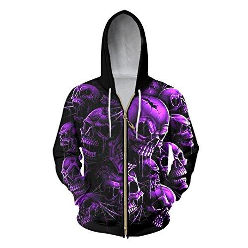 Arrivée Hommes Hoodie Sweat Violet Imprimer Broken Skull Hoody Fermeture éclair 3D Homme Hip Hop Style Punk Vestes à Capuchon
