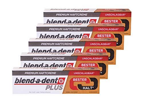 5x 40g blend-a-dent PLUS Premium Haftcreme - Geschmacksneutral - Duokraft