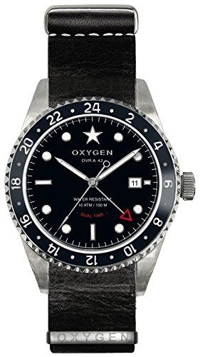 Oxygen Buffalo 42 Herren Quarzuhr mit schwarzem Zifferblatt Analog-Anzeige und schwarzem Lederarmband EX-DT-BUF - 42-NL-BL