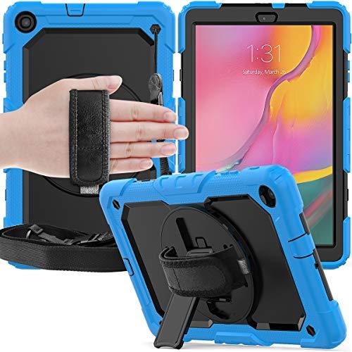 Tablet PC Bolsas Bandolera Cubierta protectora para Samsung Galaxy Tab A 10.1 / T510 / T515 a prueba de golpes de tres capas, Kickstand Sirvo de 360 grados y PC de la correa de la mano y la funda pr