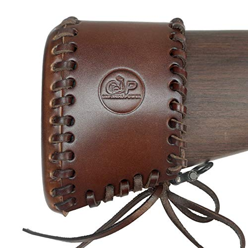 Recoil Pads with Handmade Lace Up Leather Slip,Extension Universal Fit for Rifles, Shotguns, Shoulder Protective Buttstock (Upgrade - Brown)