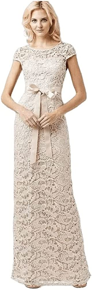 Adrianna Papell Women's Cap-Sleeve Illusion Lace Gown Almond 2 Beige