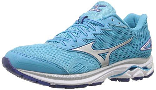 Mizuno Women's Wave Rider 20 Running Shoe, Blue Atoll/Silver, 6 B US