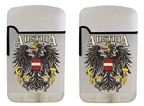EASY TORCH8 Gasfeuerzeug Sturmfeuerzeug Bedruckt - 2er-Set Feuerzeug weiß gummierte Oberfläche - Staatswappen Österreich Austria