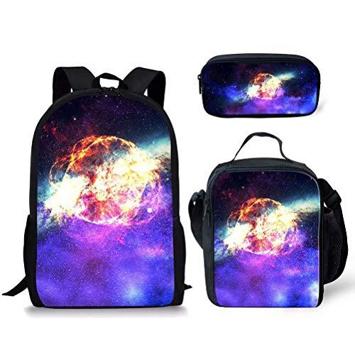 POLERO Schultaschen 3 Set Schulrucksack Kühltasche Federmäppchen mit Galaxy Print Design für Damen Mädchen Kinder