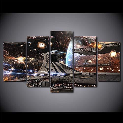HCHD Pinturas HD Impresos modulares Posters Decoración Moderna 5 Panel Impreso de Star Wars de la película de la Nave Espacial Tableau Pared Bellas Artes del Lienzo