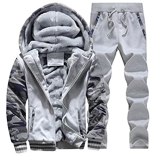 Men's Winter Sweatsuits Set Solid Color Jacket Pants Thickened Plus Velvet Warm Sweater Suit Plus Size Sportswear