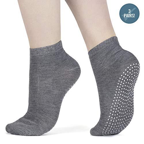 3x Paar rutschfeste Yoga und Pilates Zehensocken, Kampfsport, Fitness, Tanz, Barren; Sneaker-Socken; mit Grip um ein Ausrutschen zu verhindern;...