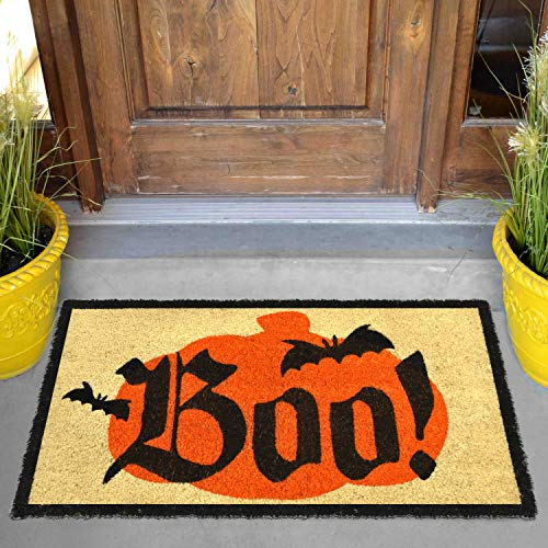 "Halloween Boo Doormat 30"" x 17""; Natural Coir Doorway Rugs for Trick or Treat Mat Decorations"