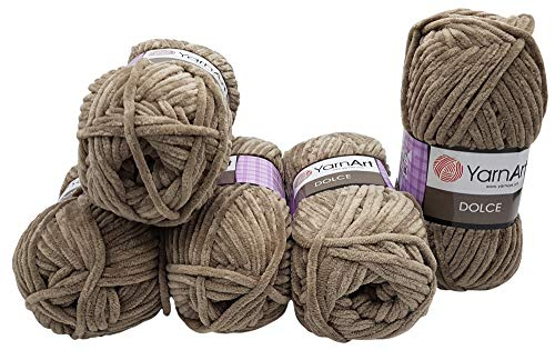 YarnArt Dolce 5 x 100 Gramm Strickwolle, Babywolle, 500 Gramm Wolle Super Bulky (Taupe 754)