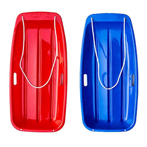 tomser Snow Sled 2 Pack, Large Toboggan Snow Sled for Adults and Kids Durable Saucer Sleds for Snow Winter Snow Sledding for Outdoor Grass Dune Game Plastic Sled Red and Blue