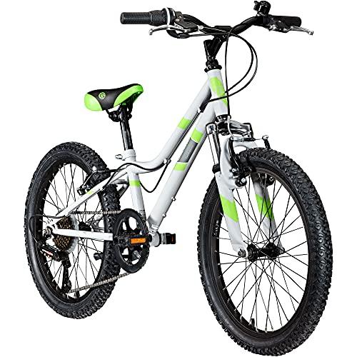 Galano GA20 20 Zoll Kinderfahrrad MTB Jugendfahrrad Mountainbike Jugend Kinder Fahrrad ab 6 (grau/grün, 26 cm)