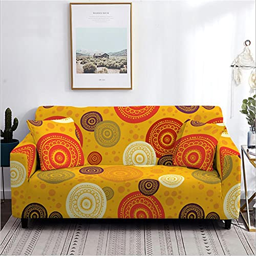 Antideslizante Funda de Sofá de 3 Plazas Patrón Circular Amarillo Funda Elástica sofá (Regalar 2 Funda de Cojines) Funda para Sofá Funda de sofá de Sillón Protector Cubierta de Muebles