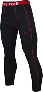 Take Five Men's Side Pockets Cool Dry Tights UV Protection Compression Baselayer Cycling Yoga Leggings