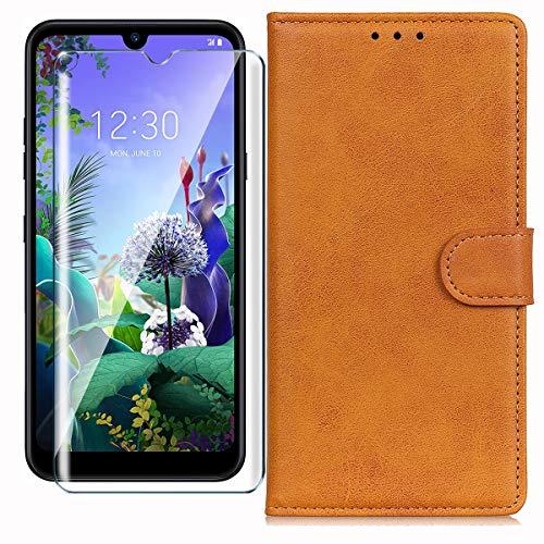 HYMY Hülle für LG Q60 + Schutzfolie - Gelblich Braun Einfach Stil PU Leder Lederhülle Flip mit Brieftasche Geldbörse Card Slot Handyhülle Cover für LG Q60 (6.26