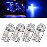 Qasim 4 pièces Bleu T10 501 Ampoule LED 2-SMD 3030 W5W 194168 Wedge T10 Ampoules intérieures de Voiture Feux de Coffre Feux de Position Ampoule de Plaque d'immatriculation (DC 12V)