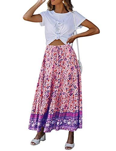 MEROKEETY Women's Boho Floral Print Elastic High Waist Pleated A Line Midi Skirt with Pockets Purple