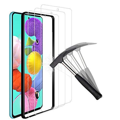 ANEWSIR Schutzfolie Kompatibel mit Samsung Galaxy A51 Schutzfolie Displayschutzfolie Displayschutz 3 Stuck Installationswerkzeug Positionierungsrahmen Anti Kratzen Blasenfrei 25D Rand