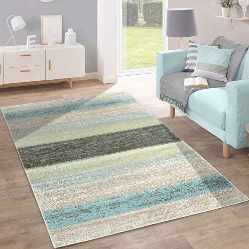 Paco Home Designer Teppich Modern Wohnzimmer Farbverlauf Streifen Muster Pastell Grün Blau Creme, Grösse:160x220 cm