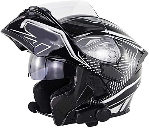 YCRCTC Cascos de motocicleta integrados con Bluetooth, aprobados por DOT/ECE, antirreflejos, doble visera, para motocross, intercomunicador, radio FM (color: D, tamaño: XXL)