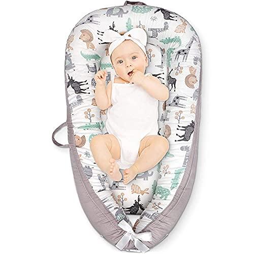 GLYIG Reductor de Cuna, Nido de Bebé, Cama de Bebé Recién Nacido, Cama de Viaje Portátil para Dormir, Transpirable, Colchón Suave 100% Algodón con Almohada (0-24 Meses) (Color : Animals)