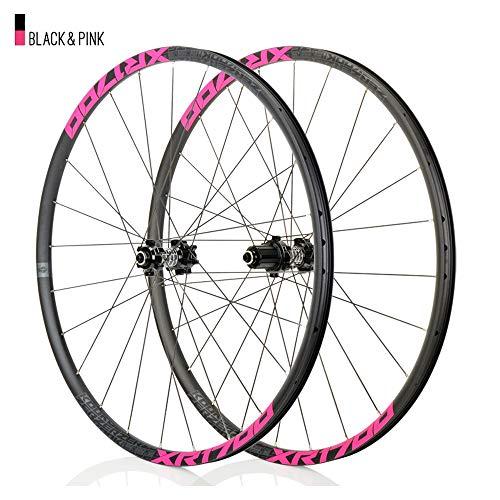 Juego ruedas Conjunto bicicleta montaña Rosado MTB doble pared Aleación aluminio Cubo rueda libre Freno disco llanta Liberación rápida Rodamiento Ciclismo delantera rueda trasera,8-11 velocidad,26'