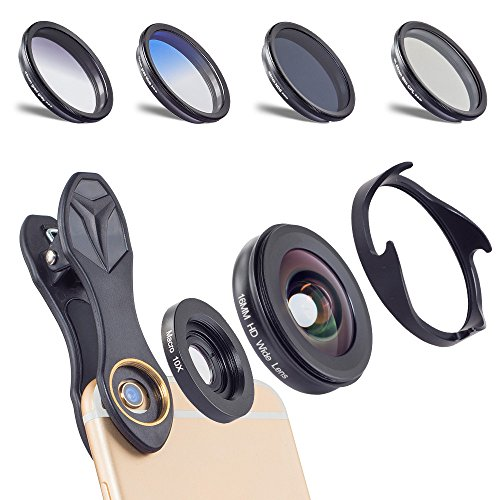 APEXEL 6 in 1 Camera Lens Kit,0.6X Super Wide Angle Lens & 10X Macro Lens+CPL Filter+GND Blue+GND Gray+ND8 Filter Cell Phone Camera Lens for iPhone Samsung Sony and Other Smart Phones