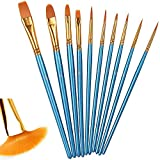 10 Piezas of pinceles de nylon, Set de pinceles de artista para acuarela, óleo, cara, dibujo de líneas, Pincel de nilón para principiantes, profesionales y amantes de la pintura
