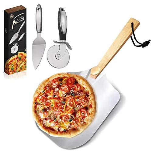 Pala per pizza,Pala Pizza con Angoli Arrotondati-60*30.5cm,Manico in Legno Staccabile e Paletta per pizza in Alluminio-Pala progettata appositamente per la Base della Pizza/Pala da Pizza