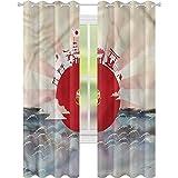 Cortinas opacas para oscurecer la habitación, diseño de atracción turística japonesa, 52 x 63, para sala de estar