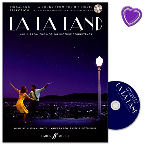 La La Land Singalong Selection - Music from the Motion Picture Soundtrack - Songbook voor zang, piano met CD en met kleurrijke hartvormige muziekklem