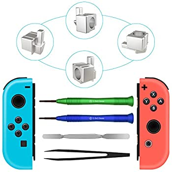 Joy-con Replacement Latches For Nintendo Switch Yoelike Metal Lock Buckles Repair Tools Kit for Nintendo Switch NS Joy Con with Screwdrivers  silver