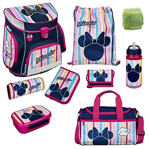 Familando Scooli Schulranzen-Set Disney Minnie Maus 9 TLG. mit Federmappe, Dose, Flasche, Sporttasche und Regenschutz