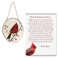 Lola Bella Gifts and Burton and Burton Cardinal Decoupaged Wood Ornament with Red Feathered Soul Poem