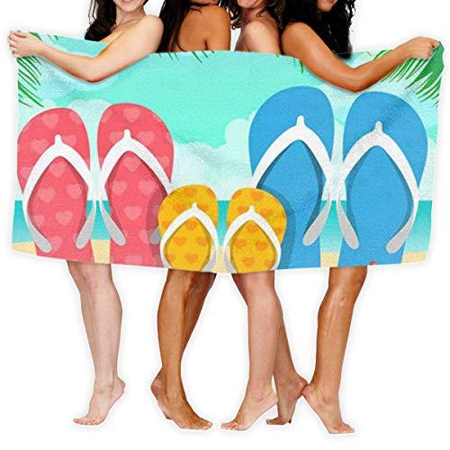 Zome Lag Family Beach Slippers Qiuck-Dry,Bad Handdoek,Absorberend,Stranddoek,Badkamer Body Handdoeken,Douche Wikkel Zwembad Handdoek,badlaken,Deken voor Spa,Sauna,Hotel,Wafel Body Wrap,Reizen,Home 80X130CM