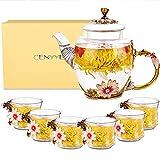 CNNIK Servizi da tè, 300ml Teiera in Vetro smaltato con Coperchio e 6 Tazze da tè smaltate, Teiera in Vetro borosilicato, Miglior Regalo per Compleanno & San Valentino