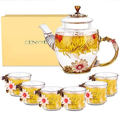 Juego de tém, CNNIK 300ml Tetera de vidrio esmaltado con tapa y 6 tazas de té de esmalte, Tetera de vidrio borosilicato, Mejor regalo para cumpleaños y San Valentín